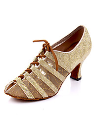 cheap -Women's Dance Shoes Synthetics Jazz Shoes Heel Cuban Heel Customizable Gold / Gray / Performance / Practice