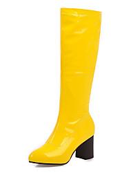 cheap -Women's Boots Chunky Heel Round Toe PU Spring &  Fall / Fall & Winter Black / Deep Green / Dark Coffee and Black