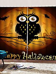 abordables -thème de l'halloween heureux hibou dans le rideau au clair de lune décoration de la maison pleine ombrage rideau personnalisé tissu