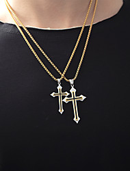 cheap -Men's Pendant Necklace Engraved Cross Modern Titanium Steel Gold Silver 55 cm Necklace Jewelry 1pc For Gift School Street Club Promise