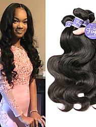 cheap -3 Bundles Indian Hair Body Wave Virgin Human Hair Unprocessed Human Hair Natural Color Hair Weaves / Hair Bulk Extension Bundle Hair 8-28 inch Natural Human Hair Weaves with Baby Hair Fashionable