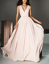 cheap -A-Line Plunging Neck Court Train Chiffon Open Back Formal Evening Dress 2020 with Pleats