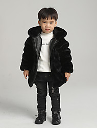 cheap -Kids Boys' Basic Solid Colored Regular Faux Fur Jacket & Coat Black