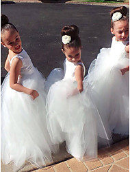 cheap -A-Line Floor Length Flower Girl Dress - Lace / Satin / Tulle Sleeveless Jewel Neck with Lace / First Communion