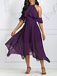 cheap -Women's Asymmetrical Swing Dress - Solid Colored Halter Neck Wine Purple S M L XL