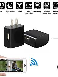Недорогие -Мини 1080p HD 200 Вт Wi-Fi 4 К cmos IP-камера зарядное устройство скрытая беспроводная USB няня поддержка ночного видения 128 ГБ карты памяти камеры безопасности