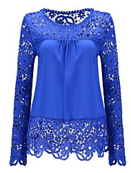 cheap -Women's Daily Wear Basic Shirt - Solid Colored Lace Black