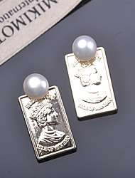 cheap -Women's Freshwater Pearl Stud Earrings Coin Engraved Head Luxury Vintage European Pearl Gold Plated S925 Sterling Silver Earrings Jewelry Gold For Party Daily Street Holiday Festival 2pcs