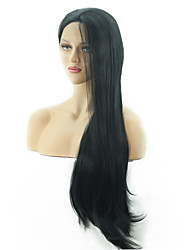 cheap -Human Hair Lace Wig Synthetic Lace Front Wig Straight Body Wave Kardashian Layered Haircut Deep Parting Lace Front Wig Long Medium Length Very Long Black#1B Synthetic Hair 14-24 inch Women's Party