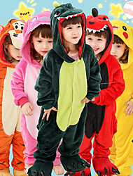 cheap -Kid's Adults' Kigurumi Pajamas Tiger Onesie Pajamas Flannel Toison Green / Orange / Yellow Cosplay For Boys and Girls Animal Sleepwear Cartoon Festival / Holiday Costumes