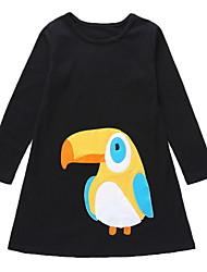 cheap -Kids Girls' Basic Bird 3/4 Length Sleeve Knee-length Dress Black