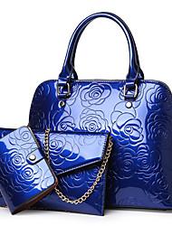 cheap -Women's Zipper / Chain Patent Leather Bag Set Floral Print 3 Pcs Purse Set Black / Purple / Gold