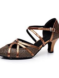 cheap -Women's Modern Shoes / Ballroom Shoes Synthetics Cross Strap Heel Splicing Flared Heel Customizable Dance Shoes Bronze / Performance / Practice