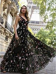 Недорогие -Жен. Классический А-силуэт Платье - Цветочный принт Макси