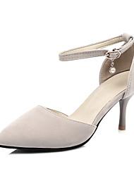cheap -Women's Heels Stiletto Heel Pointed Toe Rhinestone Suede Minimalism Spring & Summer Black / Almond / Party & Evening / Party & Evening