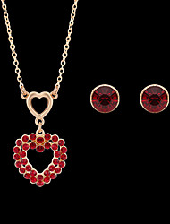 cheap -Women's Stud Earrings Pendant Necklace Classic Heart Stylish Unique Design Gold Plated Earrings Jewelry Red For Wedding Party Street Holiday 1 set