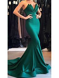 cheap -Mermaid / Trumpet Sweetheart Neckline / Plunging Neck Court Train Matte Satin Beautiful Back / Minimalist Formal Evening Dress with Draping 2020