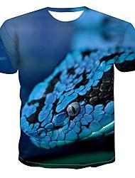 levne -Pánské Větší velikosti Barevné bloky 3D Tisk Tričko Základní Přehnaný Denní Jdeme ven Kulatý Světle modrá / Krátký rukáv / Zvíře