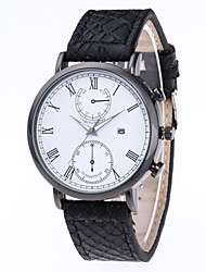 cheap -Men's Dress Watch Quartz Stylish Leather Black / Brown 30 m Chronograph Creative New Design Analog Sparkle Casual - Black Black / White White / Brown Two Years Battery Life