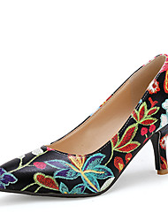 cheap -Women's Heels Stiletto Heel Pointed Toe Stitching Lace PU / Synthetics Vintage / Chinoiserie Spring & Summer / Fall & Winter Black / Green / Blue / Party & Evening / Color Block
