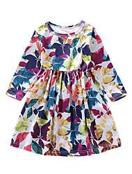 abordables -Enfants Fille Basique Feuille tropicale Arbres / Feuilles Manches Longues Mi-long Robe Blanche