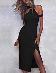 cheap -Women's Elegant Sheath Dress - Solid Colored Halter Neck Black Wine Blushing Pink S M L XL