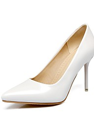 cheap -Women's Heels Stiletto Heel Pointed Toe Faux Leather Casual / Minimalism Walking Shoes Spring &  Fall / Spring & Summer Black / White / Green / Daily / 3-4