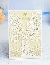 "cheap -Wrap & Pocket Wedding Invitations 30pcs - Invitation Cards / Thank You Cards / Response Cards Artistic Style / Fairytale Theme / Bride & Groom Style Pearl Paper 5""×7 ¼"" (12.7*18.4cm)"