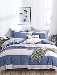 cheap -Duvet Cover Sets Floral / Botanical / Lines / Waves Cotton Reactive Print / Printed 4 PieceBedding Sets