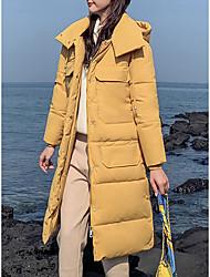 Недорогие -Жен. Однотонный Длинная Парка, Смесь шерсти Черный / Желтый / Синий M / L / XL