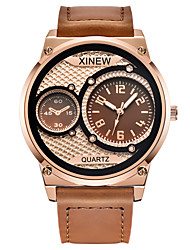 cheap -Men's Sport Watch Quartz Leather 30 m Chronograph New Design Dual Time Zones Analog Outdoor New Arrival - Black Black / Rose Gold Brown One Year Battery Life