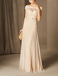cheap -A-Line Cut Out Beautiful Back Formal Evening Dress Off Shoulder Short Sleeve Floor Length Chiffon Lace with Sash / Ribbon 2020