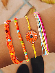 cheap -4pcs Women's Blue Green Orange Bead Bracelet Wrap Bracelet Vintage Bracelet Layered Weave Daisy Ethnic Korean Fashion Cute Colorful Cord Bracelet Jewelry Rainbow For Daily / Earrings / Bracelet