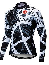 cheap -21Grams Novelty Gear Men's Long Sleeve Cycling Jersey - Black / White Bike Jersey Top UV Resistant Breathable Moisture Wicking Sports Winter Fleece Polyester Elastane Mountain Bike MTB Road Bike
