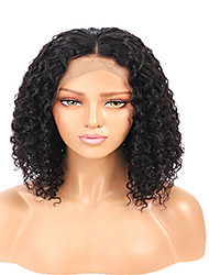 cheap -Remy Human Hair Lace Front Wig Middle Part style Brazilian Hair Jerry Curl Black Wig 130% Density Women's Medium Length Human Hair Lace Wig beikashang