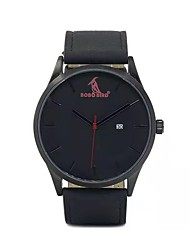 cheap -Men's Dress Watch Japanese Japanese Quartz Stylish Genuine Leather Black 30 m Casual Watch Wooden Analog Colorful - Black Two Years Battery Life