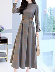 cheap -Women's Party Going out Casual Maxi Swing Dress - Check Patchwork Stand Fall Cotton Gray L XL XXL / Loose