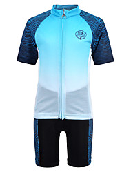 cheap -Nuckily Boys' Girls' Short Sleeve Cycling Jersey with Shorts - Kid's Fuchsia Blue Gradient Bike Quick Dry Sports Spandex Gradient Clothing Apparel / Micro-elastic