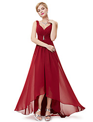 cheap -A-Line V Neck Asymmetrical Polyester Empire / Red Holiday / Wedding Guest Dress with Crystals / Draping 2020
