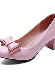 cheap -Women's Heels Chunky Heel Round Toe Bowknot Patent Leather Sweet Fall Blue / Pink / Beige / Party & Evening