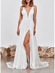 cheap -A-Line V Neck Sweep / Brush Train Lace Spaghetti Strap Made-To-Measure Wedding Dresses with Split Front 2020