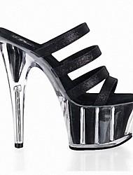 cheap -Women's Heels Stiletto Heel Peep Toe PU British Summer Black / Light Pink / Silver / Party & Evening