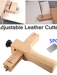 cheap -adjustable leather strap cutter leathercraft strip belt diy hand cutting wooden strip cutter with 5 blades leather tools