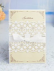 "cheap -Wrap & Pocket Wedding Invitations 30pcs - Invitation Cards / Thank You Cards / Response Cards Artistic Style / Modern Style / Floral Pearl Paper 5""×7 ¼"" (12.7*18.4cm) Satin Bow / Sash / Ribbon"