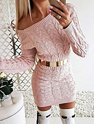 cheap -Women's Basic Bodycon Sheath Sweater Dress - Solid Colored Black White Blushing Pink S M L XL