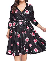 abordables -Femme Bohème Mi-long Balançoire Robe Fleur Géométrique Noir XL XXL XXXL Manches Longues