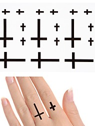 cheap -10 pcs Waterproof Temporary Tattoo Sticker Small Cross on Finger Ear Flash Tatoo Fake Water Transfer Tattoos for Girl Men