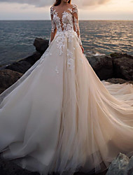 cheap -A-Line Wedding Dresses Bateau Neck Court Train Lace Tulle Long Sleeve Formal See-Through Illusion Sleeve with Buttons Appliques 2020
