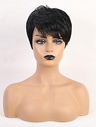 cheap -Human Hair Wig Short Straight Natural Wave Bob Pixie Cut Layered Haircut Asymmetrical Natural Black Life Easy dressing Comfortable Capless Women's All Natural Black Palest Blonde 8 inch