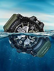 cheap -SMAEL Men's Sport Watch Fashion Watch Dress Watch Quartz Digital Charm Water Resistant / Waterproof Analog - Digital Black Black / Green Blue / Silicone / Two Years / Alarm / Calendar / date / day